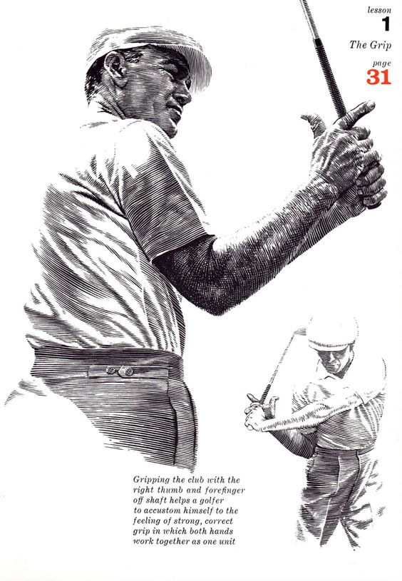 GOLF print of Golf pro lesson on the Grip, 1960s