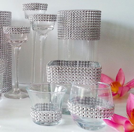 Silver Bling Weddings Decor Set  Vases Candle Holders