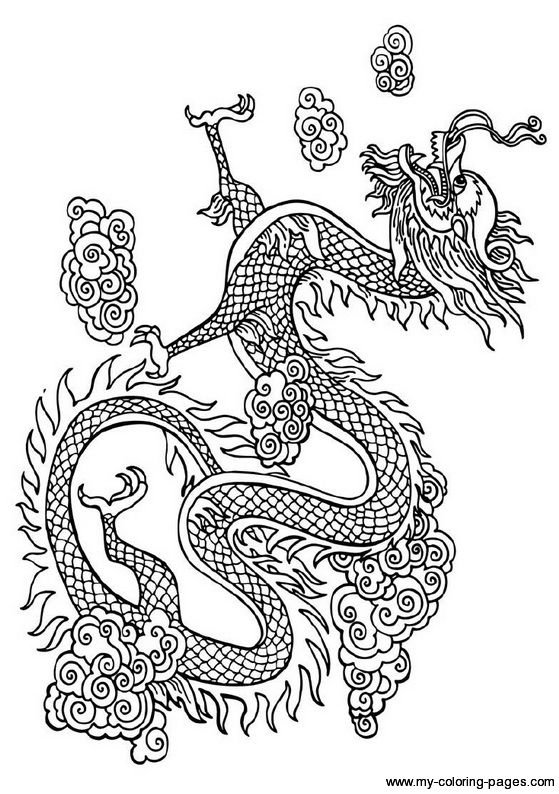 Chinese dragon, Japanese dragon and Coloring pages on
