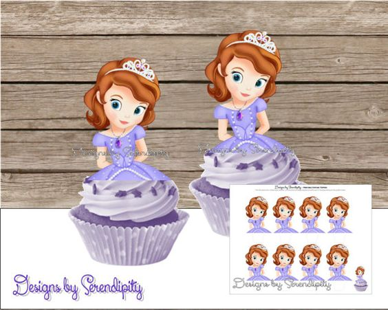 Sofia The First Cupcake Toppers, DIY, Printable, PDF