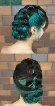 teal blue style and braided hair