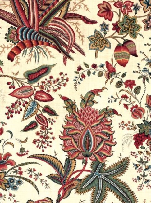 "Detail of Indian-inspired block printed cotton ""Fleurs tropicales et palmiers"" from the Oberkanpf Manufactory, France circa 1787. To be exhibited @metmuseum fall 2013 in ""Interwoven Globe""  image via http://www.hali.com  and http://www.metmuseum.org  uploaded by http://stylecourt.blogspot.com:"