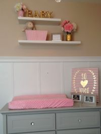 Grey and Pink Baby Girl Nursery. Lowes shelving, Hobby ...