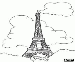 Omalovánka Eiffelova věž v Paříži na Champ de Mars na