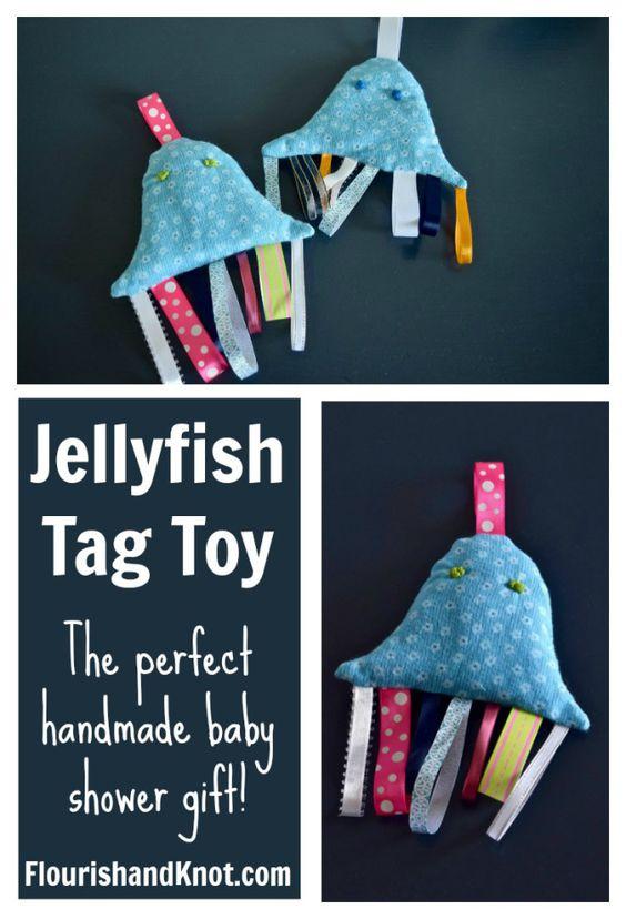 How to make a jellyfish tag toy | Handmade baby shower gift | flourishandknot.com: