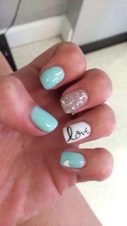 blue summer gel nails love
