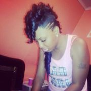 black mohawk with weave shaved