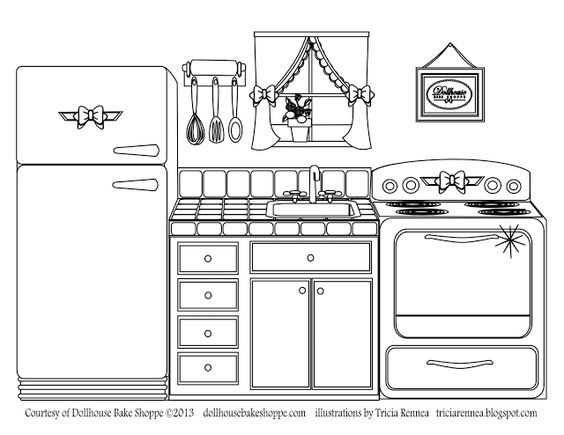 A Coloring Page Decorate Your Own Kitchen From Lindsay