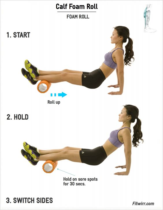 Calf Foam Roll | Fitwirr.com | Foam roll your calf muscles to relieve tension and soreness.: