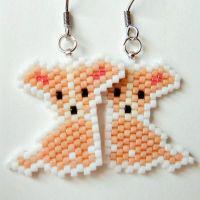 Chihuahua Dog Earrings, Seed Bead Animal Jewelry ...