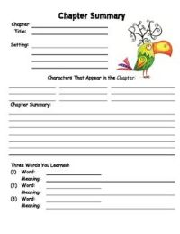 Chapter Summary Worksheet Template   Book Reports ...