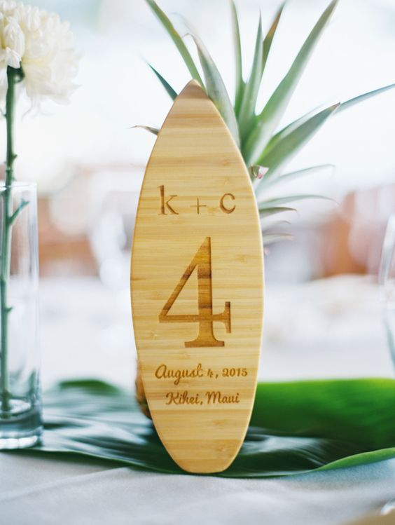 Surf board inspired wooden table numbers: