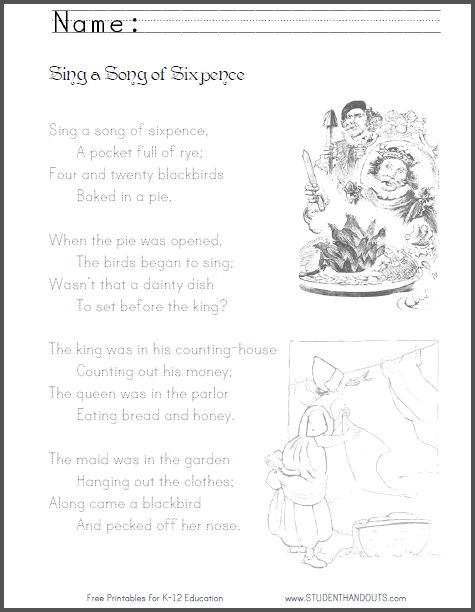 Nursery rhymes, Worksheets and Worksheets for kids on