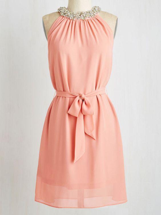 Pink Spaghetti straps Ruched Dress:
