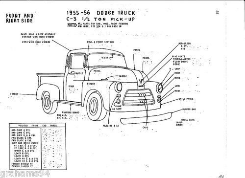 Details about 1955 56 Dodge C-3 1/2 Ton Pickup NOS Body