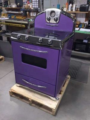Purple Home Decor Stove Range Vintage Cooktop Kitchen Appliance Chrome Violet Plum Retro