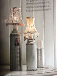 Vintage old thermos repurposed into lamps; upcycle