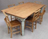 Oak farmhouse kitchen table with 'French Grey' painted ...