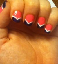 Still one of my favorites! Coral base with navy blue ...