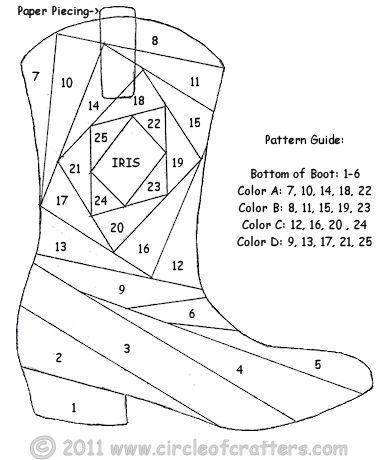 Iris Folding @ CircleOfCrafters.com: Cowboy Boot Pattern