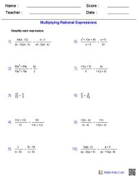 Multiplying Rational Expressions Worksheets | Math-Aids ...