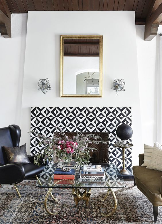 Fantastic fireplace surround with cement tiles, also known as encaustic tiles, for bohemian, Moroccan inspired home decor.: