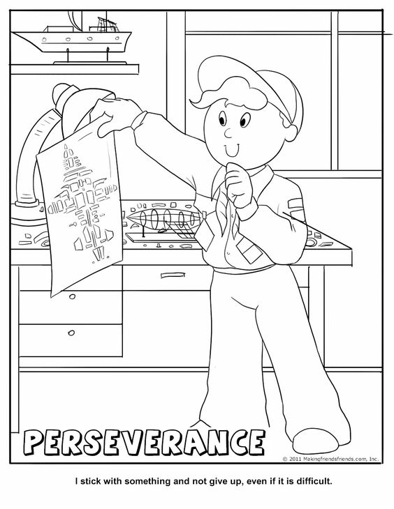 Perseverance Coloring Page. Good lesson to use in