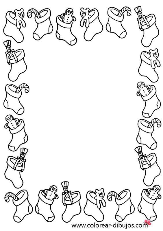 dibujo de bordes de navidad con calcetines con juguetes de