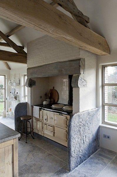 Aga, Farmhouse kitchens and Rustic farmhouse on Pinterest
