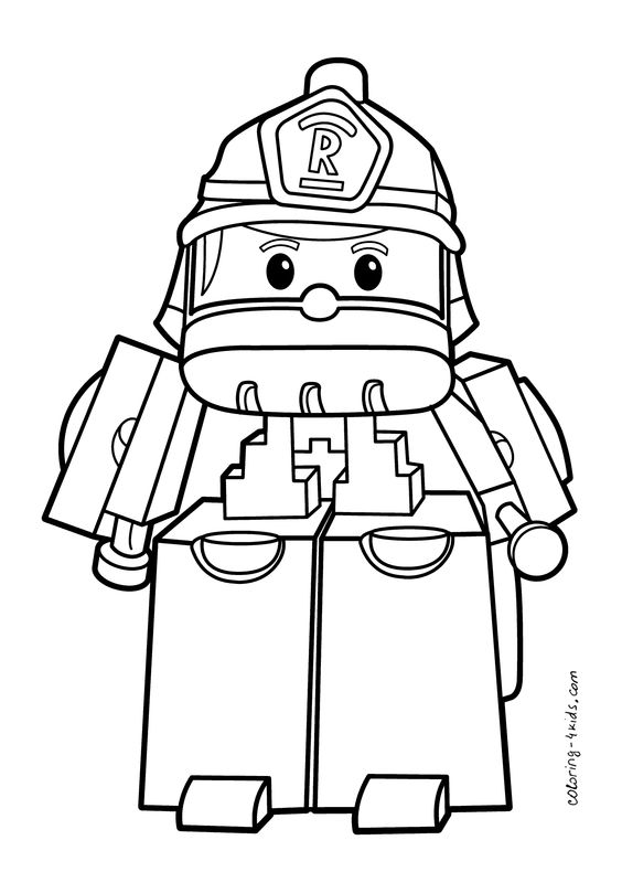 Robocar Poli coloring pages Roy for kids, printable free