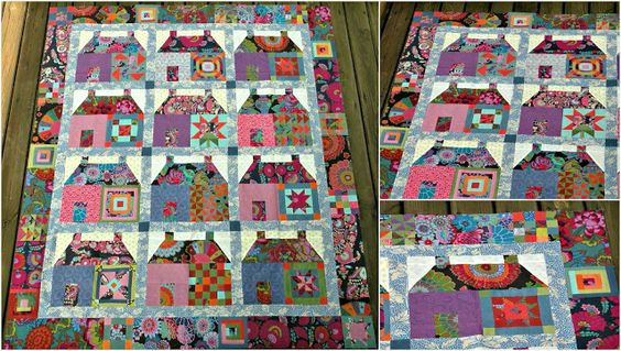 The Kaffe Fasset houses quilt: