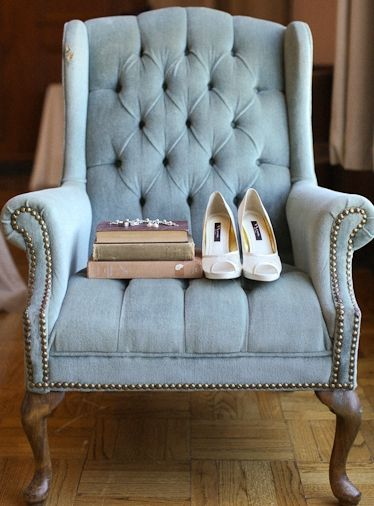 Beautiful Blue Vintage Chair  Tufted Chair  Light Blue Chair  Pale Blue Chair  Vintage Books