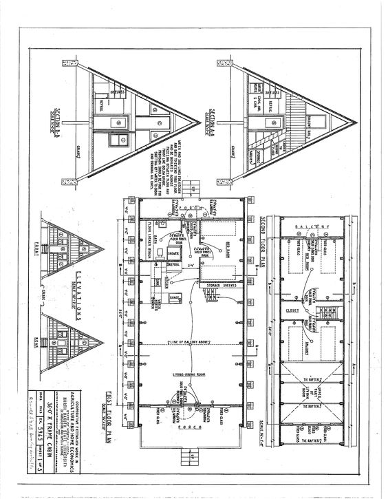 Free A-Frame Cabin Plans Blueprints Construction Documents