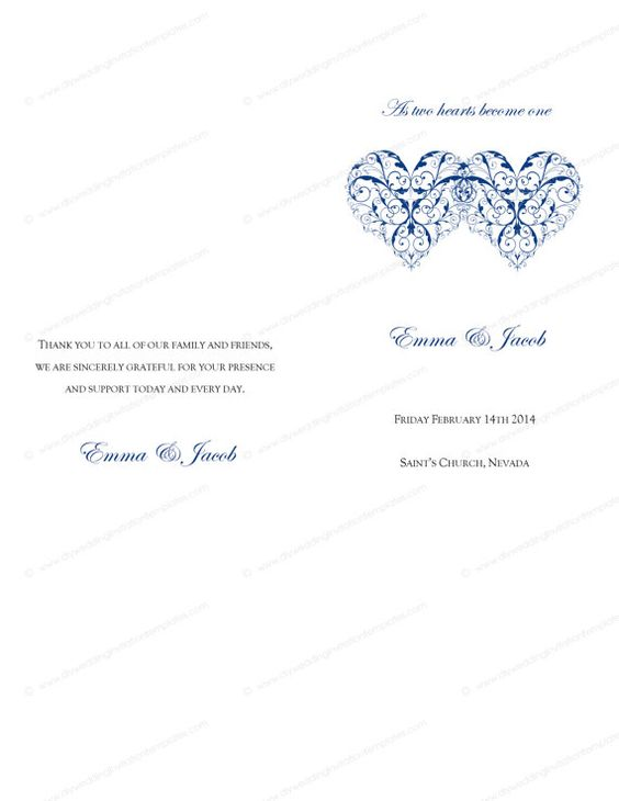 Catholic Wedding program template printable ceremony