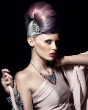 updo pastel and silver hair