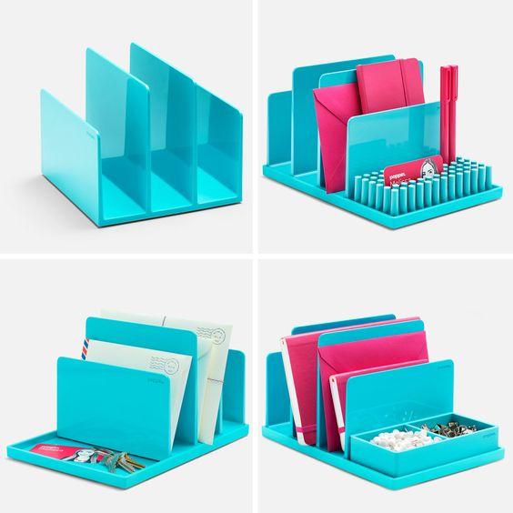 Poppin Aqua Fin File Sorter  Desk Accessories  Cool and