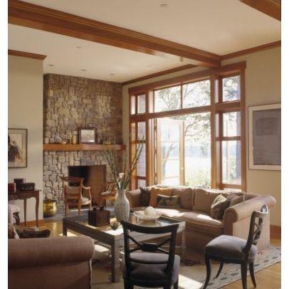 Natural wood trim, wall color