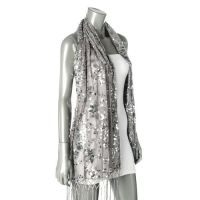 Sheer Silver Sequin Shawl Wrap Elegant Evening Floral ...