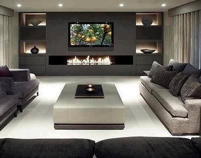 Love this contemporary living room  its clean lines see