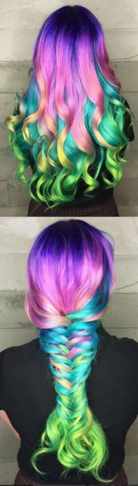Collage of Multi-Colored Hair in Curls & Big Braid # ...