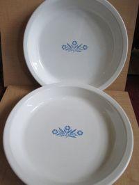 Vintage Corningware Cornflower Pair Pie Plate Lot Vintage