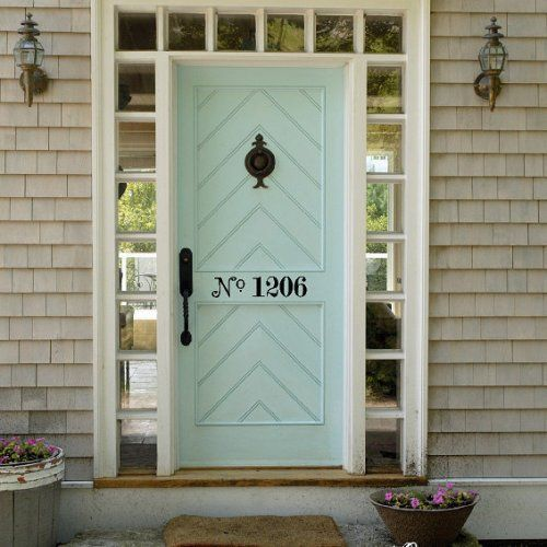 Statement Doors Mint Chevron Paneled Front Exterior Door
