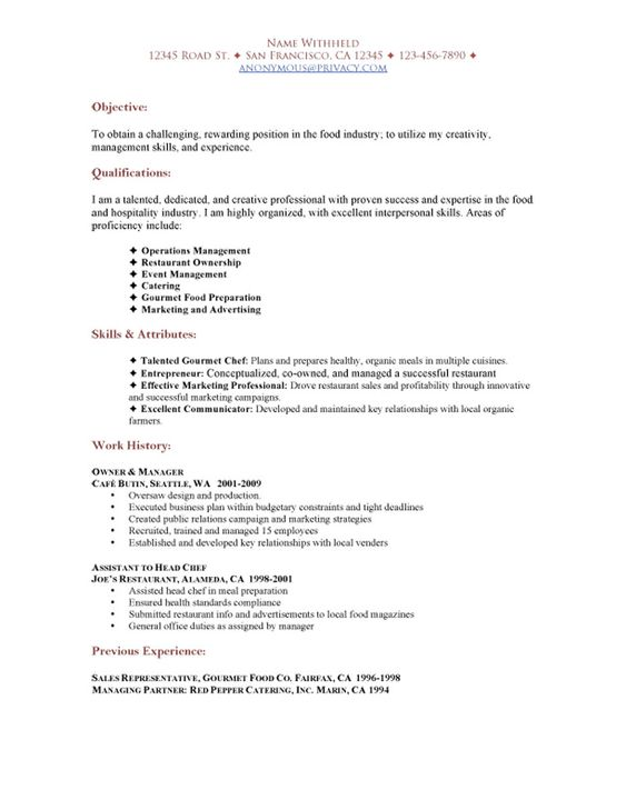 cafe and restaurant resume sample