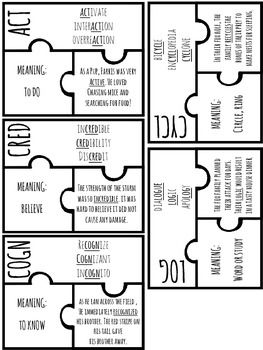 Root words, Word puzzles and Puzzles on Pinterest
