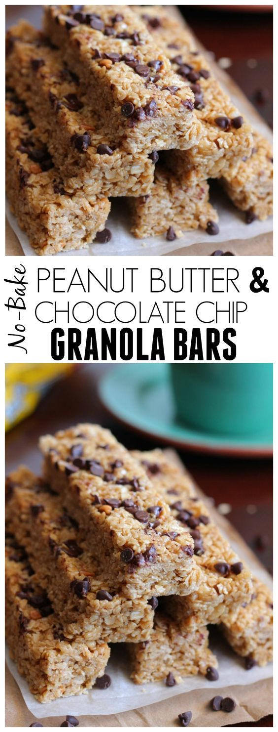 NoBake Peanut Butter and Chocolate Chip Granola Bars