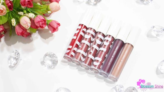 BLP Lip Coat (L-R): Candy Apple. Persimmon Pie, Lavender Cream, Beet Root, Red Velvet & Butter Fudge