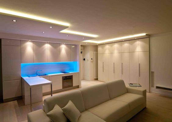 NUOVALUCE  Zona soggiornoCucina valorizzata da effetti luce con lutilizzo di Strip Led
