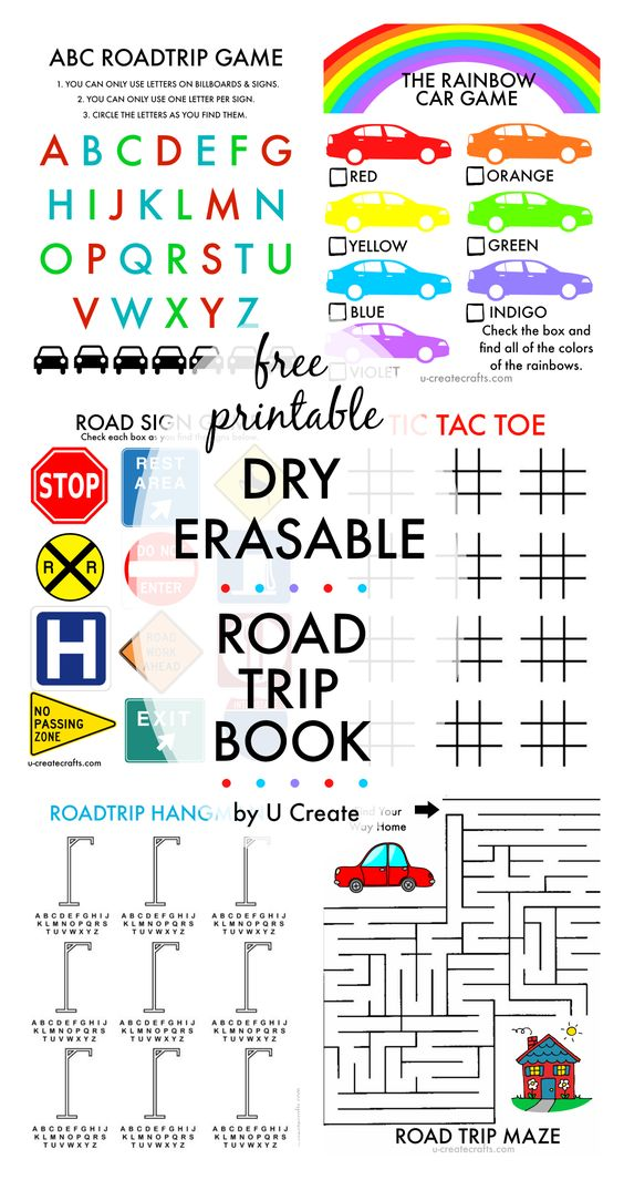 """Free Printable Dry ERASABLE Road Trip Book for Kids 