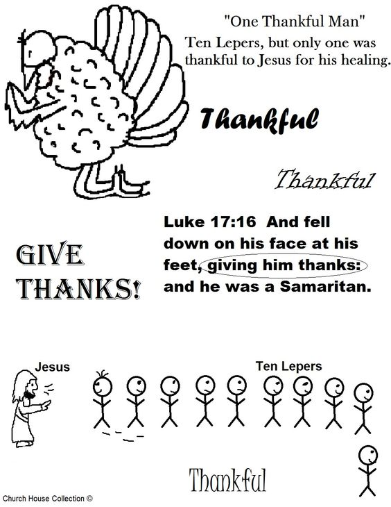 Thanksgiving Turkey One Thankful Man Ten Lepers Coloring