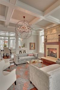 Light and airy living room with a coffered ceiling ...